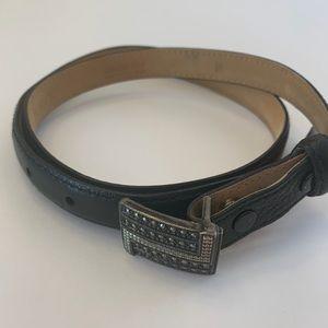 Judith Jack Black Leather Marcasite Silver Belt